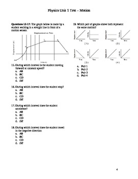 Physics - Motion (Basic Kinematics) unit exam