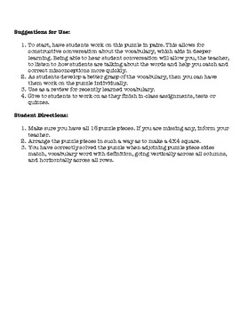 Physics Motion Vocabulary Puzzle (Easiest)