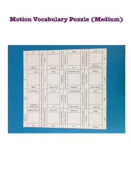 Physics: Motion Vocabulary Puzzle (Medium)