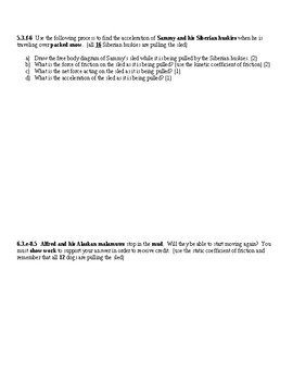 Physics Newton's 2nd Law, Friction, and ACT Skills