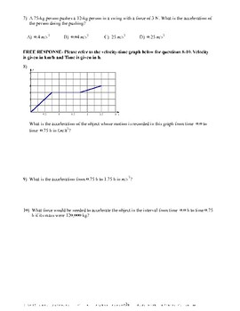 Physics- Newton's Laws of Motion- Quiz or Worksheet
