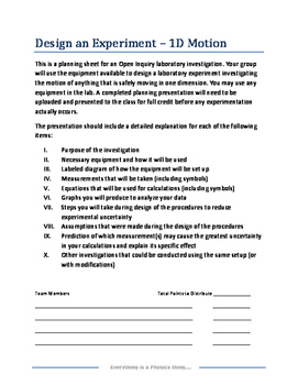 Physics Open Inquiry (Level 4) - Design an Experiment with Rubric - 1D Motion