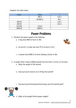Physics: Power Workbook with notes and questions