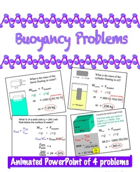 Physics - PowerPoint of 4 Buoyancy Problems w/ Buoyant Force = Weight