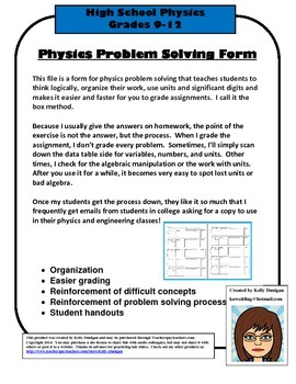 Physics Problems Form