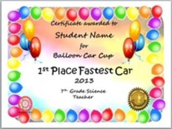 Physics Project Awards: Balloon Powered Car