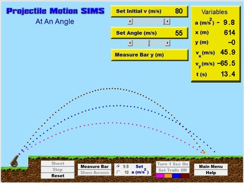 Physics - Projectile Motion SIMS Software - PC & MAC Flash Version