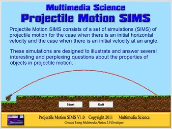 Physics - Projectile Motion SIMS Software - PC & MAC Flash