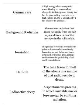 Physics, Radioactivity - Flash cards with test designed using Quizlet