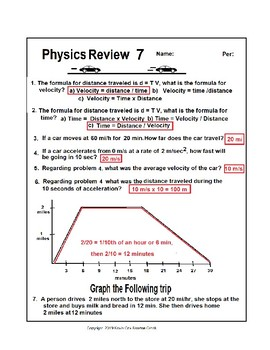 Physics Review 7 Velocity and Position-Time Graph (Easy)