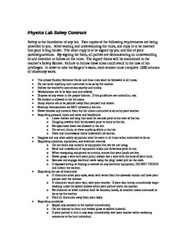 Physics Safety Contract & Lab Procedures