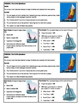 STEM Lab Science Experiment - land sailboats lab