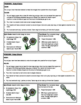 STEM Lab Science Experiment - paper chains material strength lab