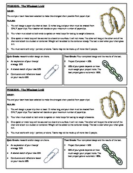 STEM Lab Science Experiment - paper clip chains material strength lab