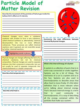 Physics (Science) Particle Model of Matter Revision Workbook