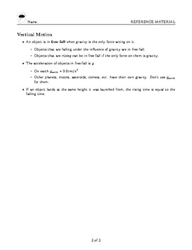 Physics - Semester 1 - Things to Memorize