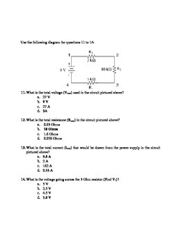 Physics Series and Parallel Circuits Multiple Choice (25 questions)