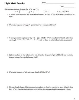 Physics Speed of Light Practice Problems