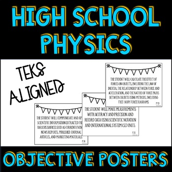 Physics TEKS Student Objective Posters with Teacher Checklist