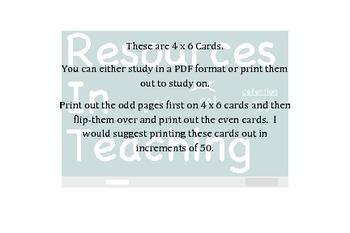 Physics Teacher's Examination Flash Cards