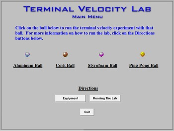 Physics - Terminal Velocity Lab - PC Version