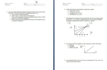 Physics Test & Quizzes (Kinematics, Vectors, and Velocity)