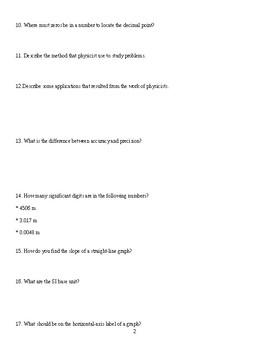 Physics Tool Kit Study Guide