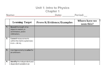 Physics Unit 1 Learning Targets - Review