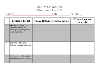 Physics Unit 2 Learning Targets - Motion in 1D