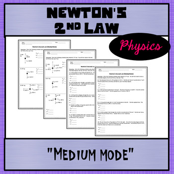 Physics Unit 2: Newton's Second Law with Free Body Diagrams Worksheet