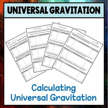 Physics Unit 4 Calculating Universal Gravitation Worksheet
