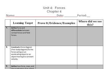 Physics Unit 4 Learning Targets - Forces