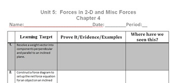Physics Unit 5 - 2D and Misc Forces