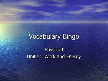 Physics - Unit 5 - Work and Energy  complete unit