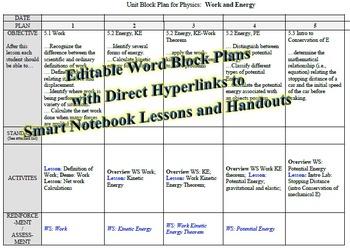 Physics Unit: Work and Energy