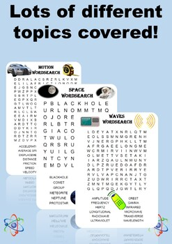 Physics Word Search Bundle. Includes 10 different word searches!