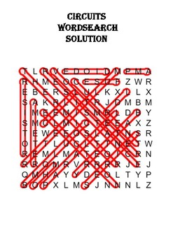 Physics Word Search: Circuits (Includes Solution)