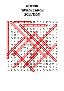 Physics Word Search: Motion (Includes Solution)