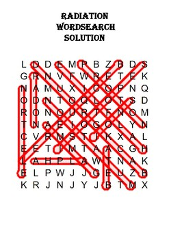 Physics Word Search: Radiation (Includes Solution)