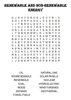 Physics Word Search: Renewable and Non-Renewable Energy Sources