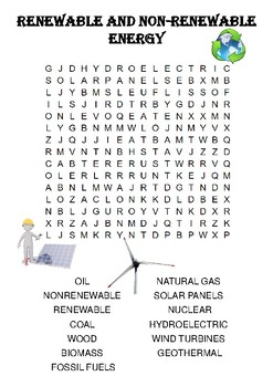 Physics Word Search Renewable And Non Renewable Energy