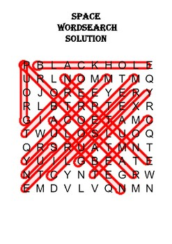 Physics Word Search: Space (Includes Solution)