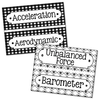 52 Physics Science Vocabulary Word Wall Terms or Flash Cards, Test Prep