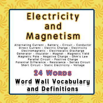 Physics Word Wall Vocabulary w/Definitions for Electricity