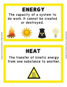 Physics Word Wall Vocabulary w/Definitions for Energy, Work, and Power