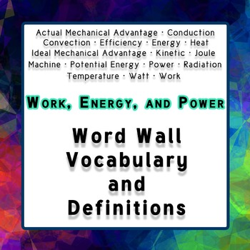 Physics Word Wall Vocabulary w/Definitions for Energy, Wor