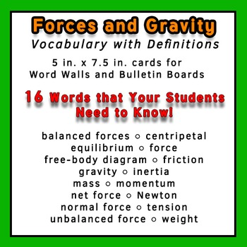 Physics Word Wall Vocabulary w/Definitions for Force and Gravity