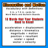 Physics Word Wall Vocabulary w/Definitions for Kinematics and Motion