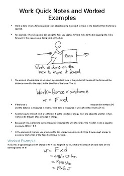 Physics - Work Quick Notes with Practise Questions