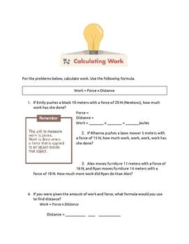 Physics Work & Simple Machines Presentation + Handouts